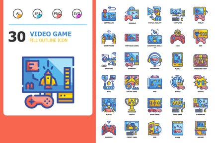 Video Game Fill Outline Icons