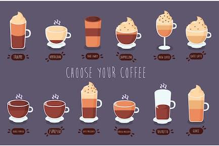 Pack d'illustration des types de café