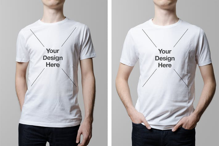 Cover Image For T-Shirt Mock-Up / Crew Neck Male Model Edition