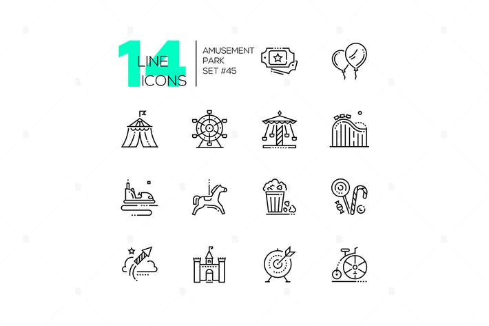 Thumbnail for Amusement park - set of line design style icons
