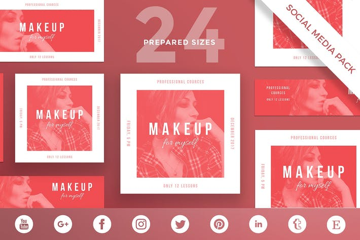 Thumbnail for Makeup Courses Social Media Pack Template