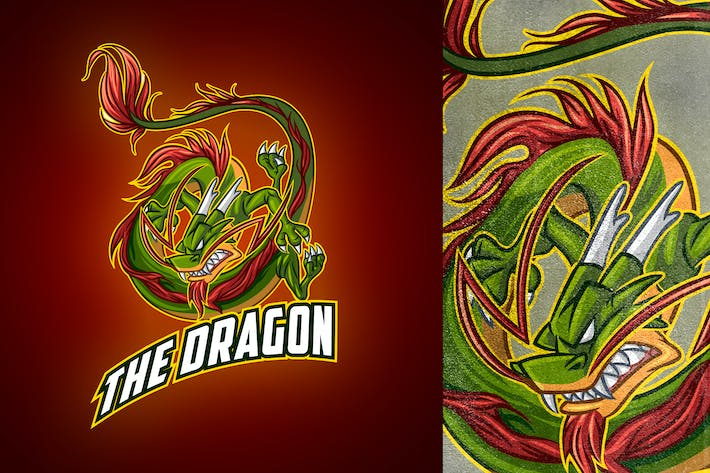 Thumbnail for Cartoon Classic Chinese Dragon Mascot Esports Logo