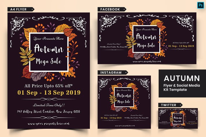 Thumbnail for Autumn Festival Flyer & Social Media Pack-19