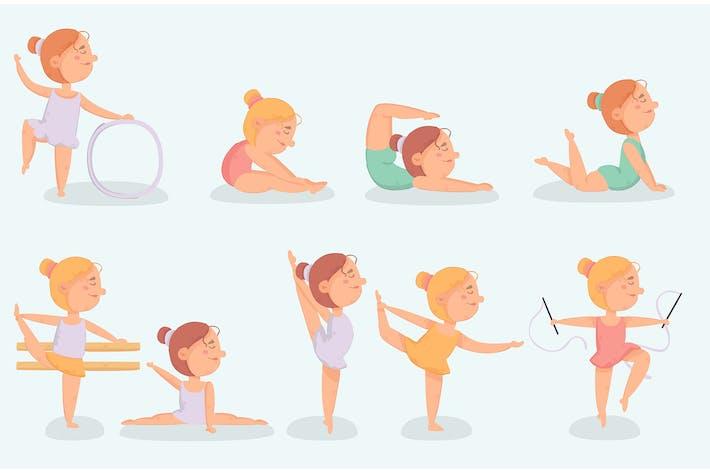 Kleine Ballerina macht Übungs-Illustration