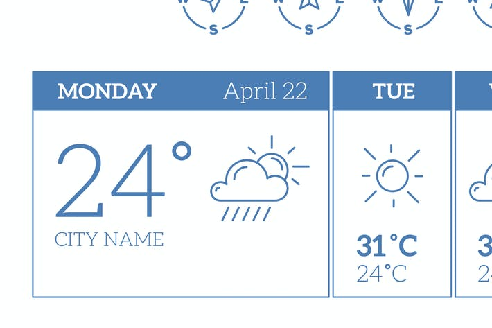 Thumbnail for Big set of weather theme icons with weather widget
