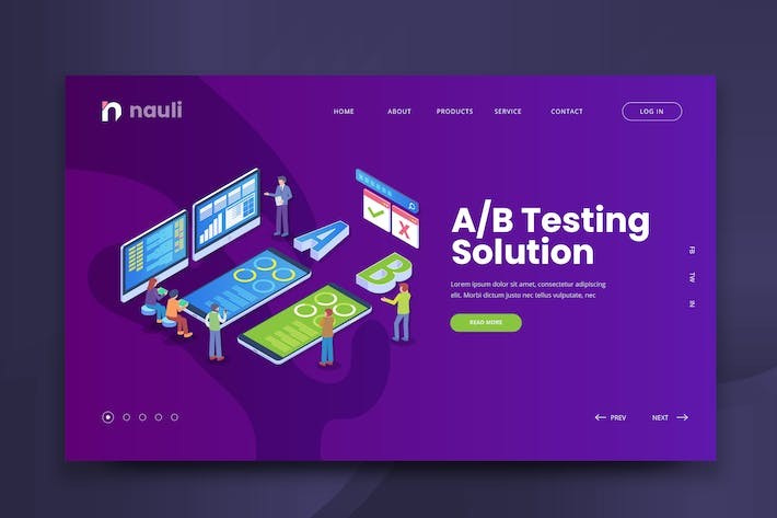 Thumbnail for Isometric A/B Testing Solution Web PSD and AI Vect