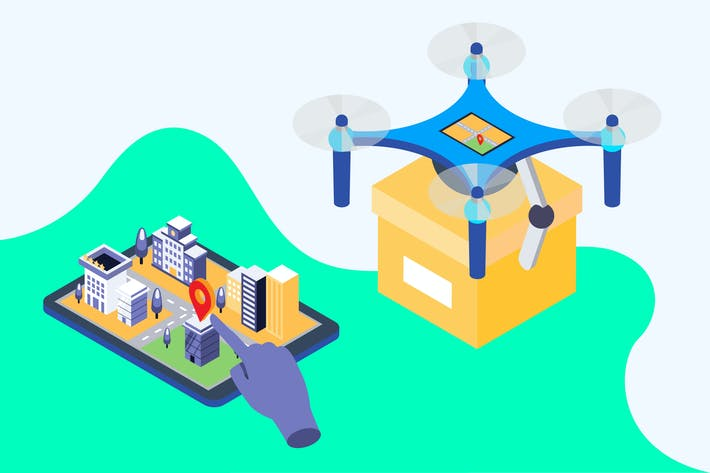Thumbnail for Shipping Drone Isometric Illustration