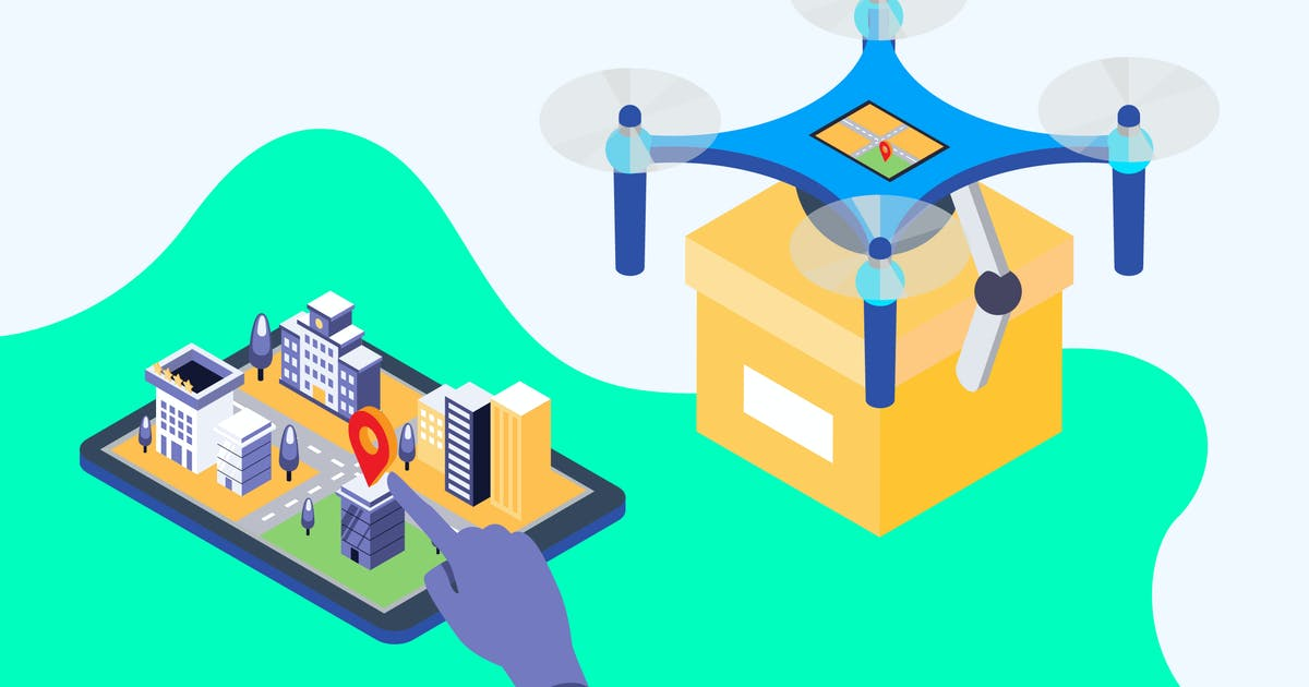 Download Shipping Drone Isometric Illustration by angelbi88