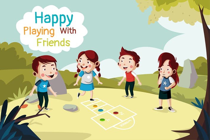 Thumbnail for Happy with friends - Illustration