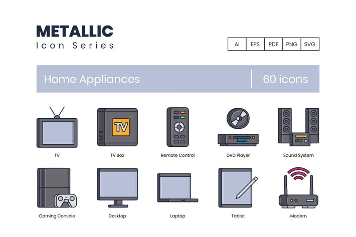 60 Home Appliance Icons | Metallic Series