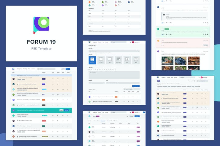 Thumbnail for Forum 19 - Forum Website PSD Template