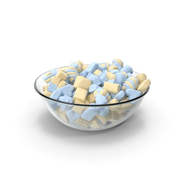 Bowl with Mixed Marshmellows