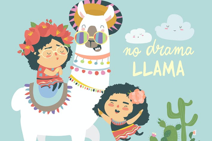 Thumbnail for Funny llama alpaka with cute mexican girls. No Dra