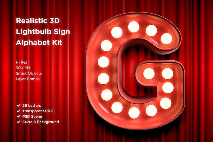 Thumbnail for 3D Lightbulb Sign Alphabet Kit