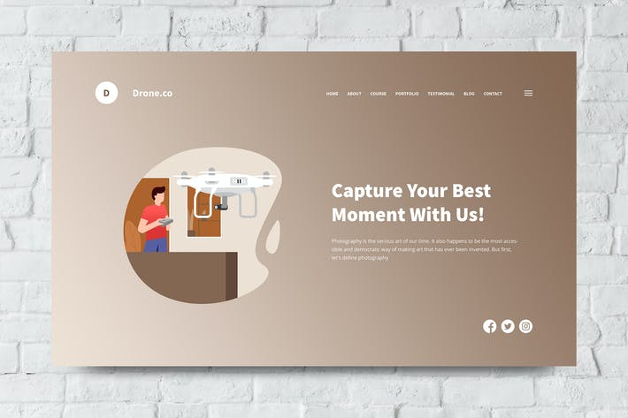 Thumbnail for Drone Web Header PSD and Vector Template