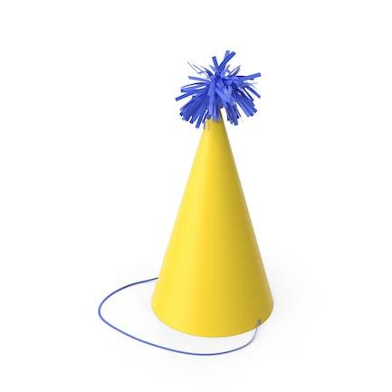 Gelbe Party Hut mit blauem Pompon