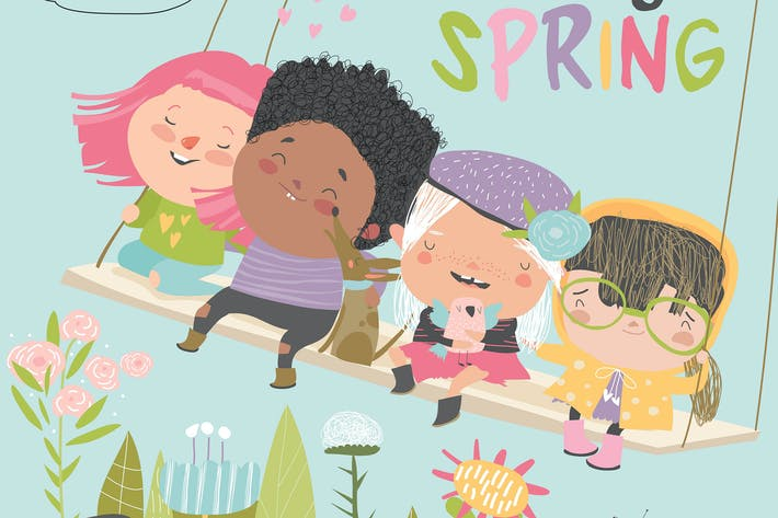 Cover Image For Happy kids flying on a swing in spring garden.
