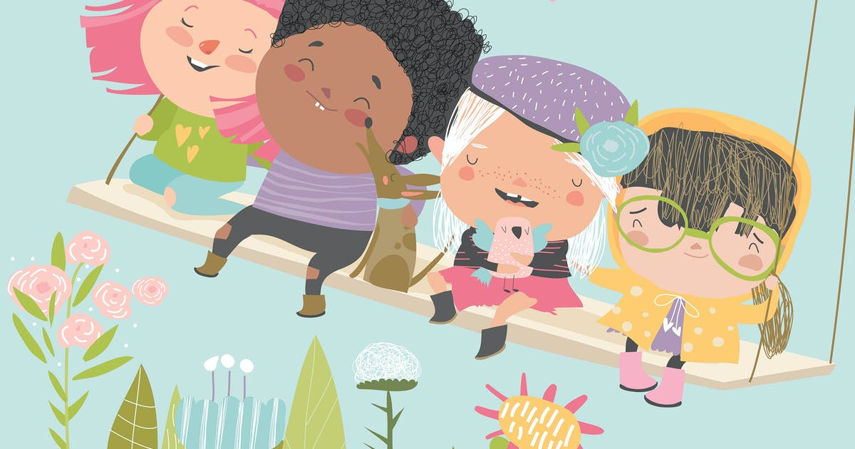 Download Happy kids flying on a swing in spring garden. by masastarus