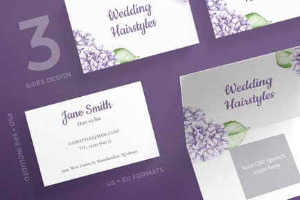 Wedding Hairstyle Business Card Template