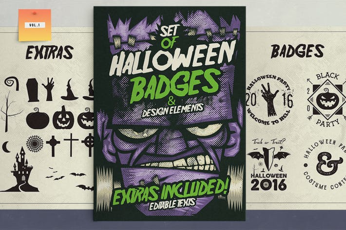 Cover Image For Halloween Badges & Extras Vol.1