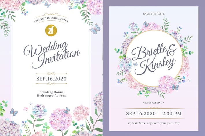 Thumbnail for Floral Hand-drawn Watercolor Wedding Invitation