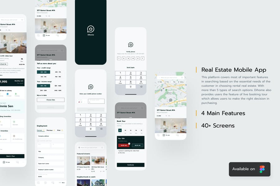 Dihome Design System - Real Estate Mobile Ui
