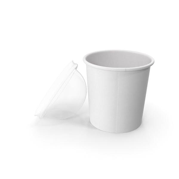Taza de papel con tapa transparente para postre, 300 ml, abierto