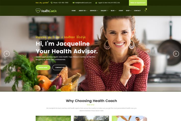 Thumbnail for Health Coach - Trainer PSD Template