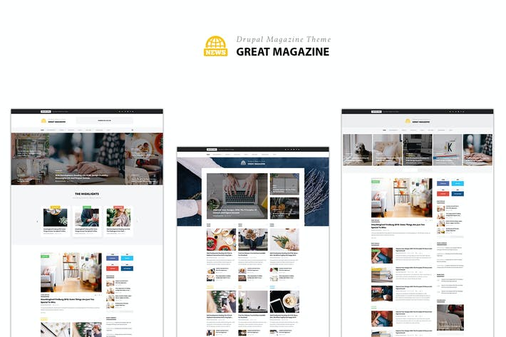 Cover Image For Great Magazine - Responsive Magazine News Drupal 8