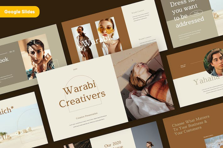 Thumbnail for WARABI - Fashion Lookbook Google Slides Template