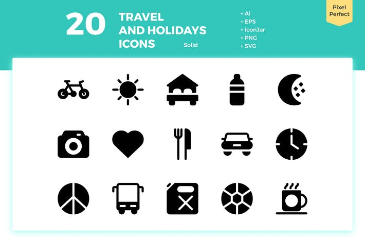 Thumbnail for 20 Travel and Holiday Icons (Solid)