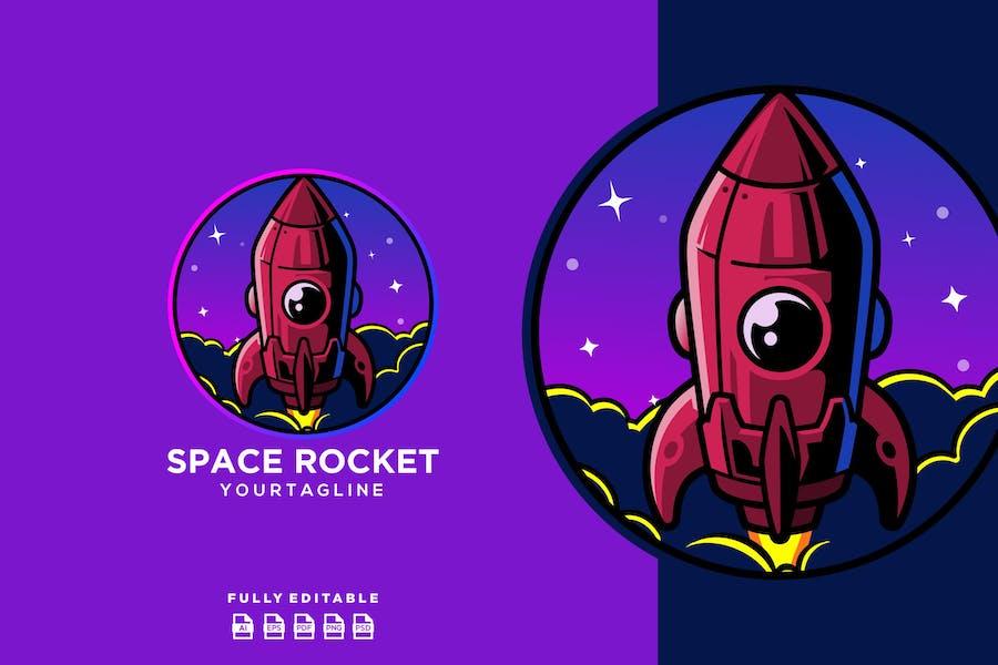 Spaceship Rocket Planet Logo