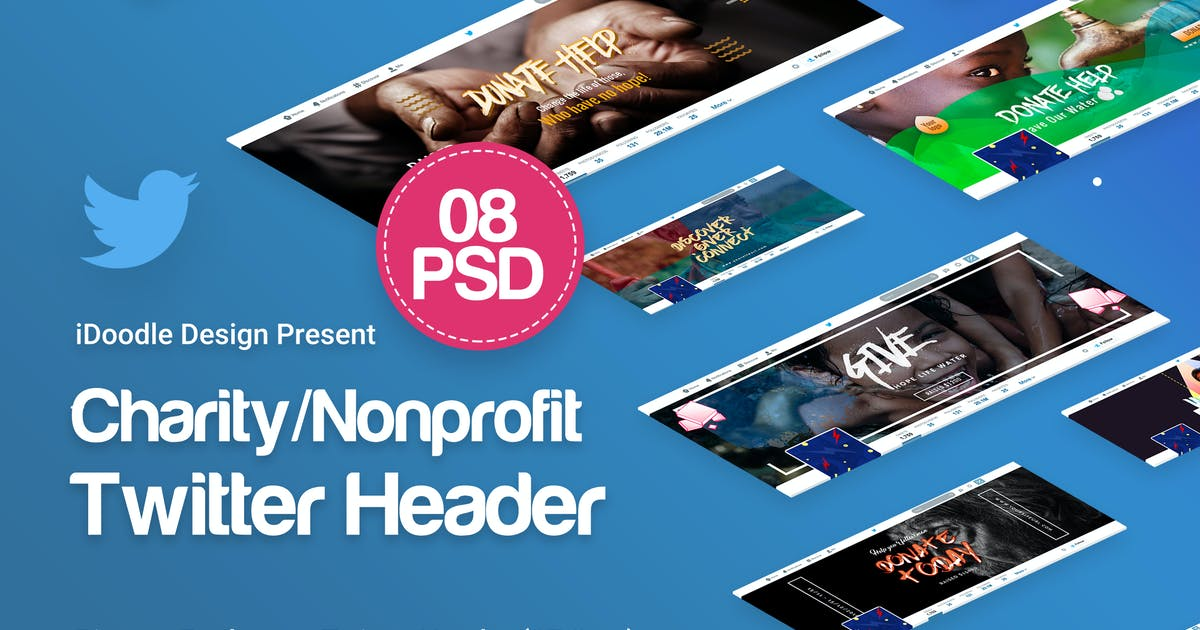 Download Charity / Nonprofit / Fundraising Twitter Headers by iDoodle