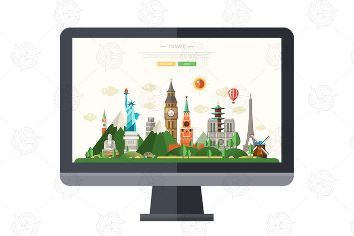 Cover Image For Flat design illustration with famous landmarks