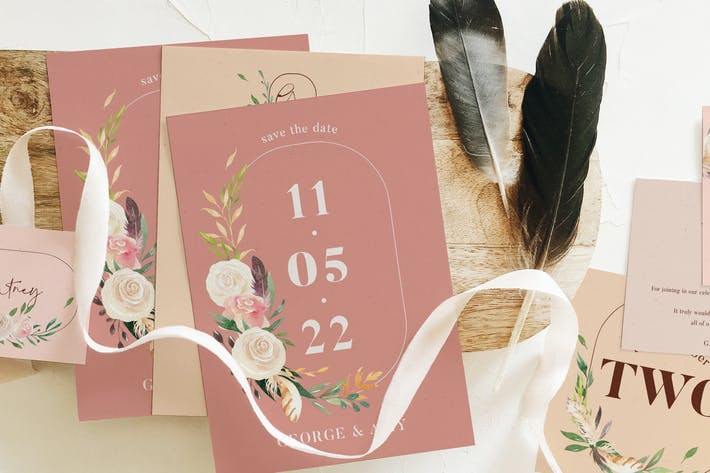 Thumbnail for Nude & Terracotta Foliage Wedding Suite