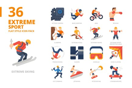 Extremsport Flache Art-Icon-Set