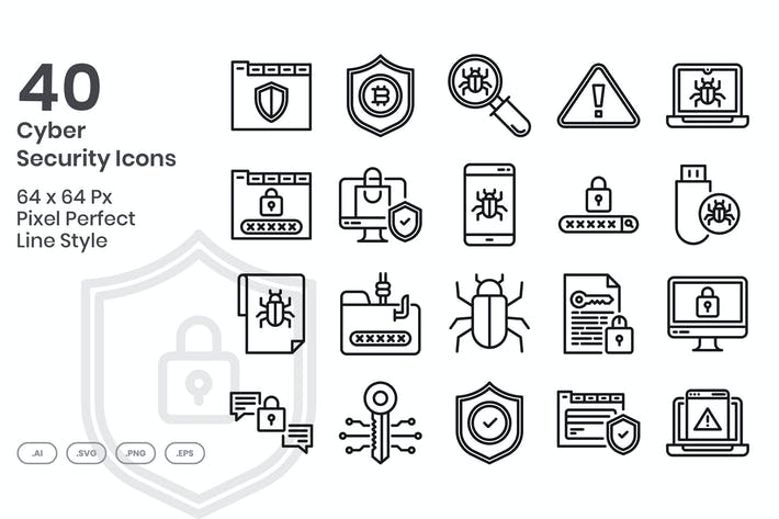 Thumbnail for 40 Cyber Security Icons set - Line