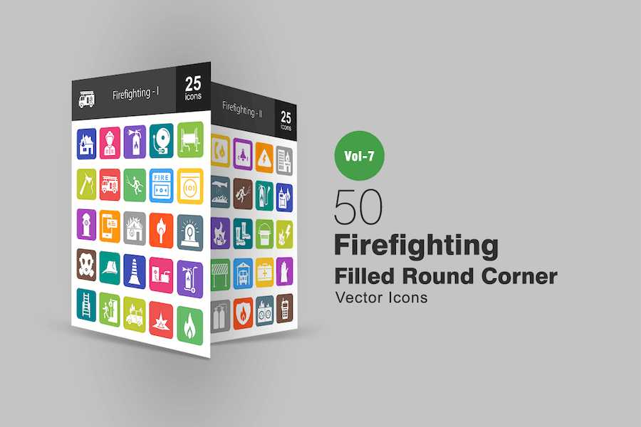 50 Firefighting Filled Round Corner Icons