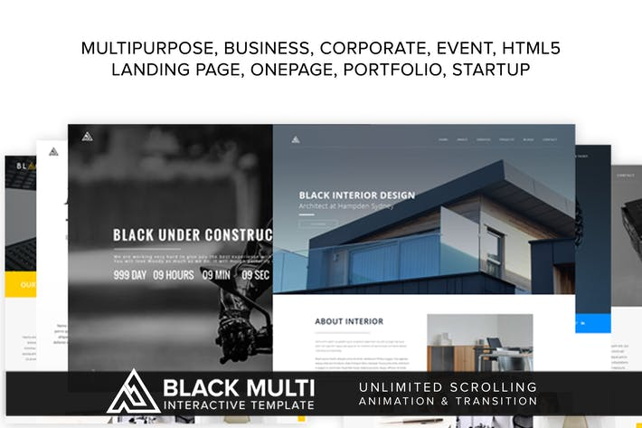 Thumbnail for Black Multi Interactive Template