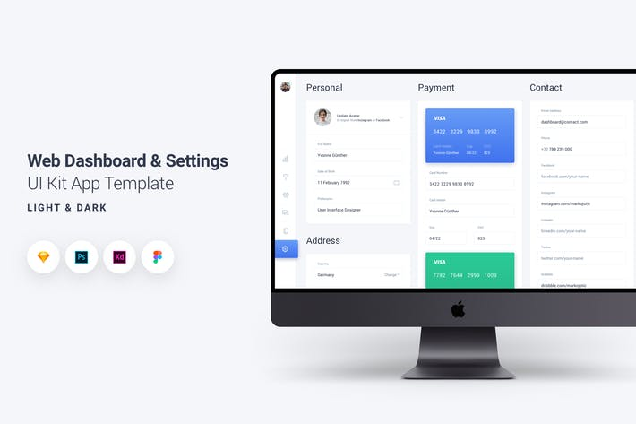 Cover Image For Web Dashboard & Settings UI Kit App Template 6