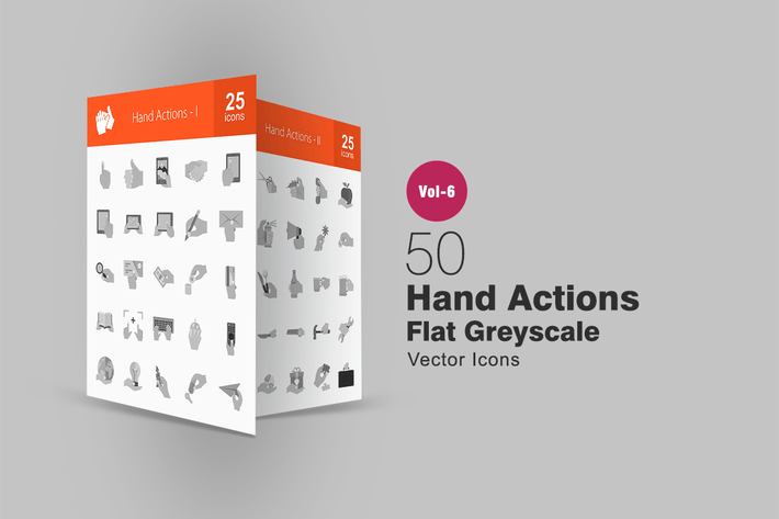 Thumbnail for 50 Hand Actions Flat Greyscale Icons