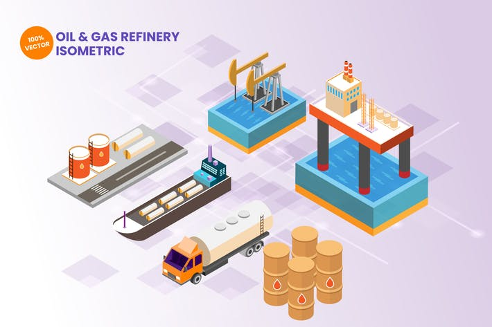 Thumbnail for Isometric Oil & Gas Refinery Vector Illustration