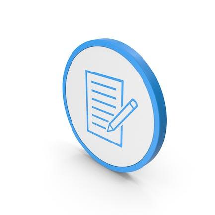 Documento de icono con bolígrafo azul