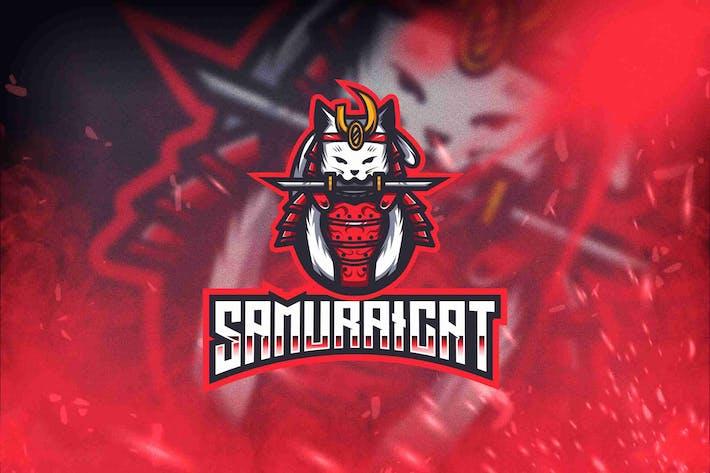 Samurai Cat Esport Logo Template