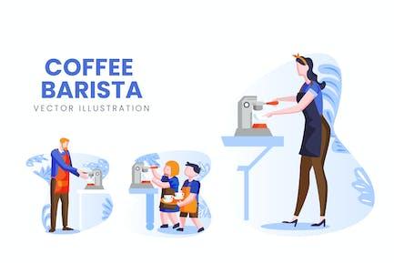 Coffee Barista Ensemble de personnages Vecteur