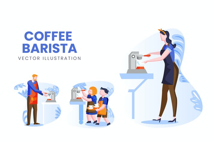 Thumbnail for Coffee Barista Vektor Zeichensatz