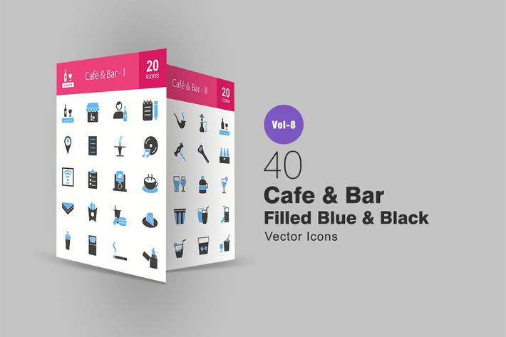 Thumbnail for 40 Cafe & Bar Filled Blue & Black Icons