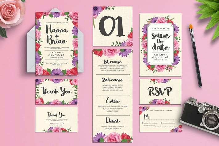 Watercolor Floral Wedding Invitation Suite by Guuver on Envato ...