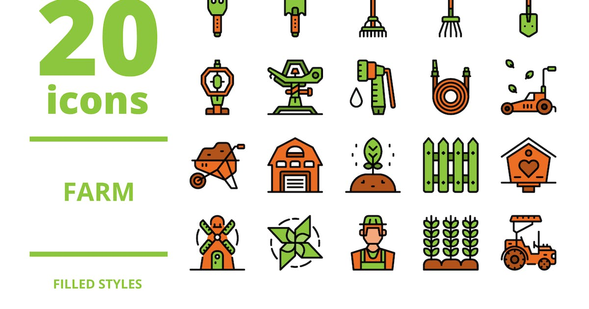 Download Farm Filled icons packs by linector