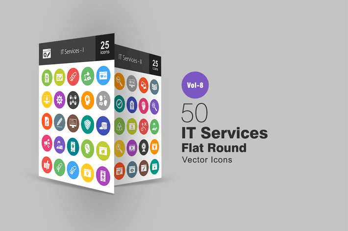 Thumbnail for 50 IT Services Flat Round Icons